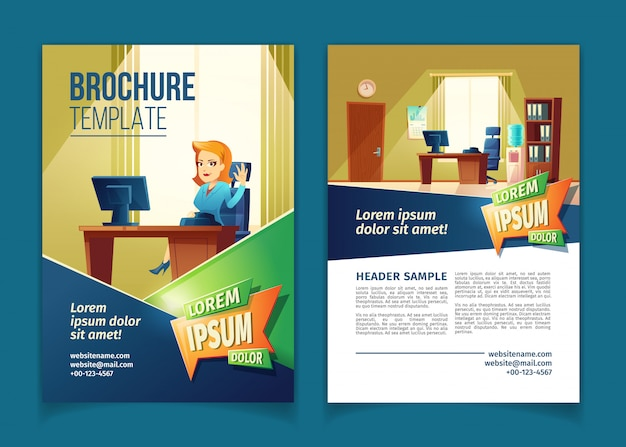 Brochure template with cartoon illustration of office with secretary. Free Vector