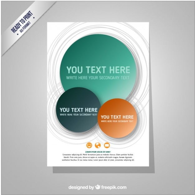 Brochure template with circles Free Vector