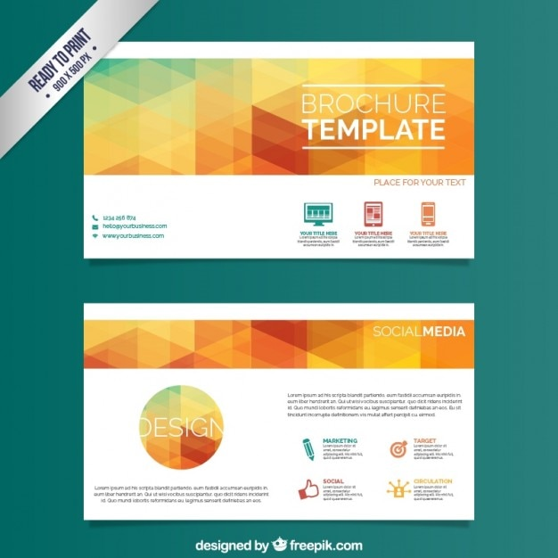 Brochure Template With Colorful Triangles Vector Free Download - Company profile brochure template