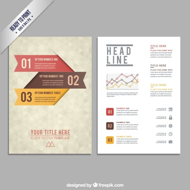 Brochure Template With Geometric Pattern Vector  Free Download