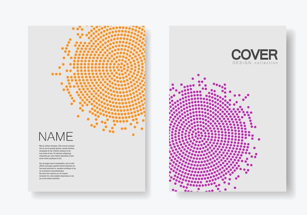 Brochure template with halftone Premium Vector