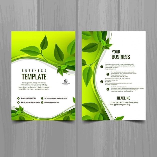 Brochure Template With Leaves Free Vector