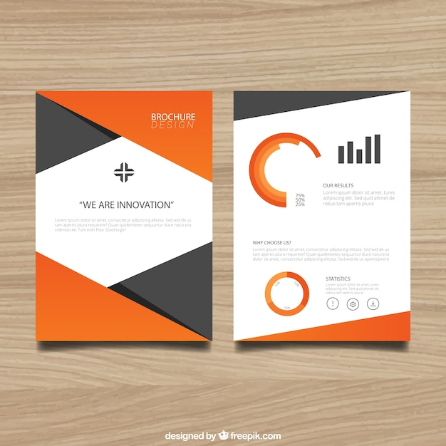 Brochure template with orange elements vector free download for Free templates for brochures and flyers