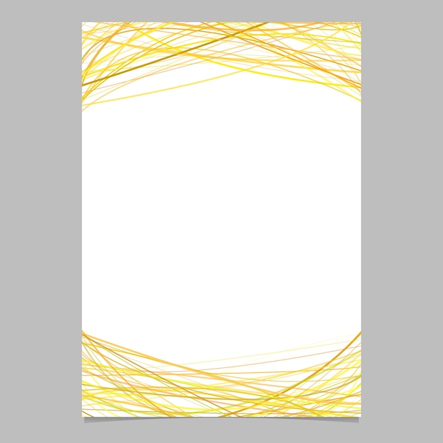 Brochure template with random arched stripes in yellow tones at top and bottom - illustration on white background Free Vector