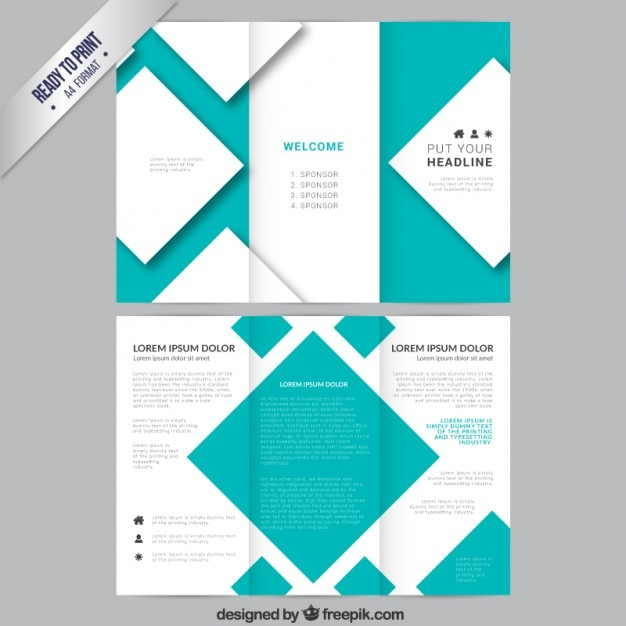 Brochure template with squares Free Vector