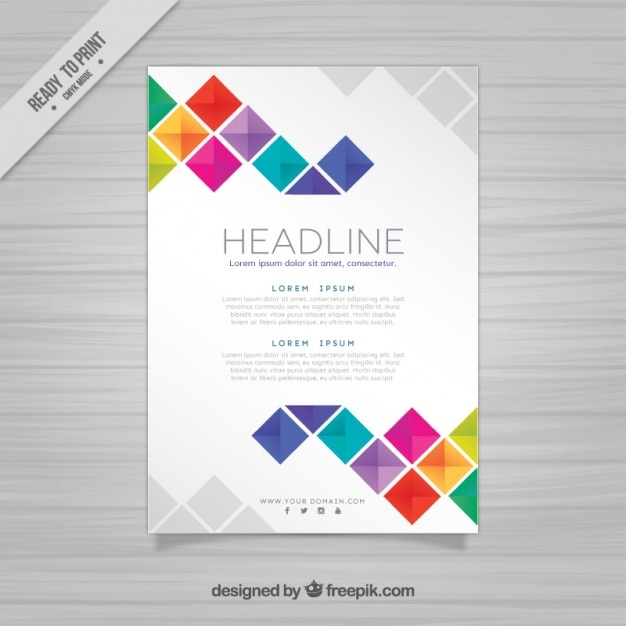 Brochure template with squares Vector – Template Poster Free