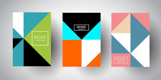 Brochure templates with abstract low poly designs Free Vector