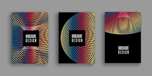 Brochure templates with colourful abstract designs Free Vector