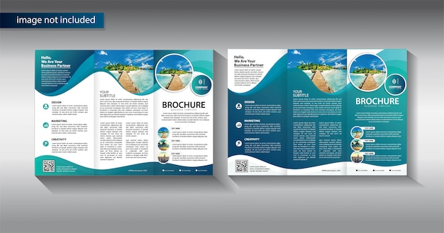 Brochure trifold for promotion template Premium Vector