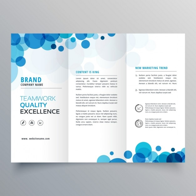 Brochure with blue circles Free Vector