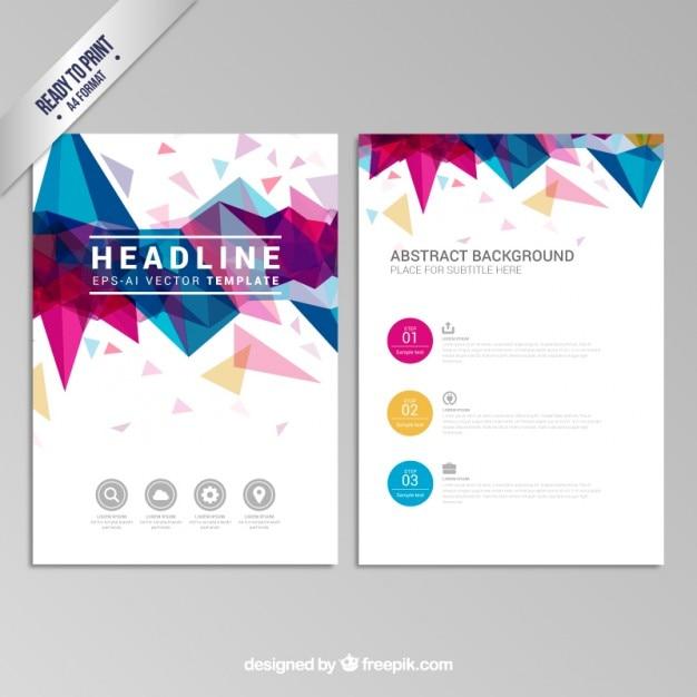 Brochure with colorful geometric design Free Vector