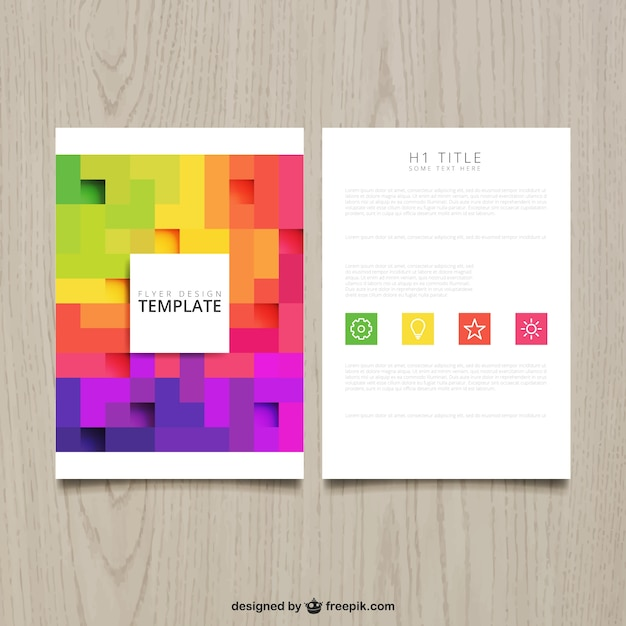 Brochure with colorful pixels vector free download for Colorful brochure