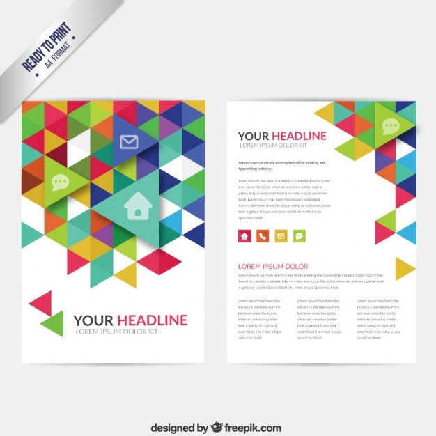 Brochure with colorful triangles vector free download for Colorful brochure