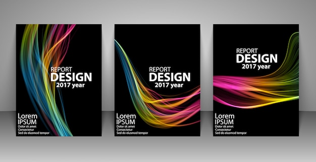 Brochure with futuristic colorful light wave background. Premium Vector