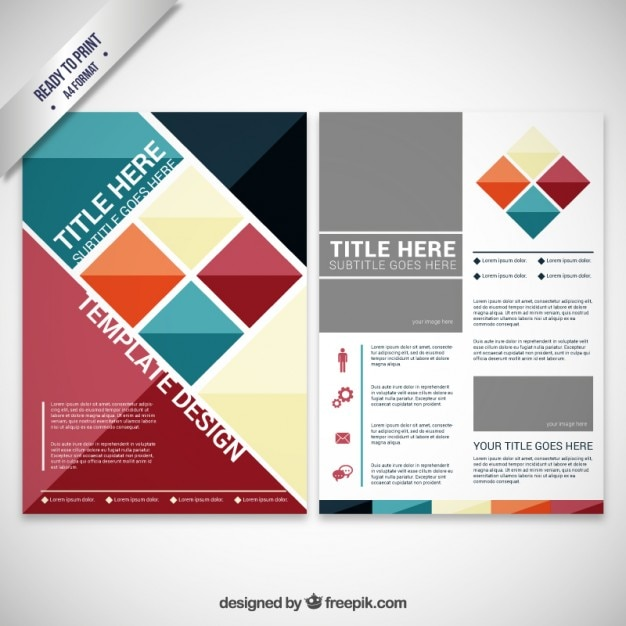 Brochure With Geometric Shapes Vector | Free Download