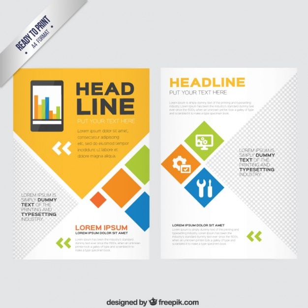 brochure with geometric shapes vector premium download
