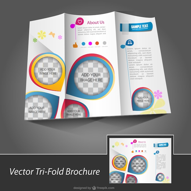 Brochure with pin maps Free Vector