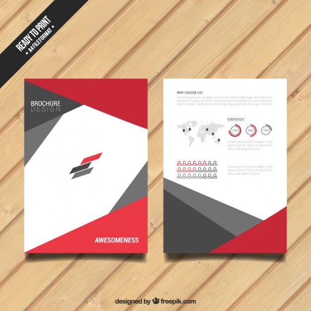 Brochure with red and grey elements Free Vector