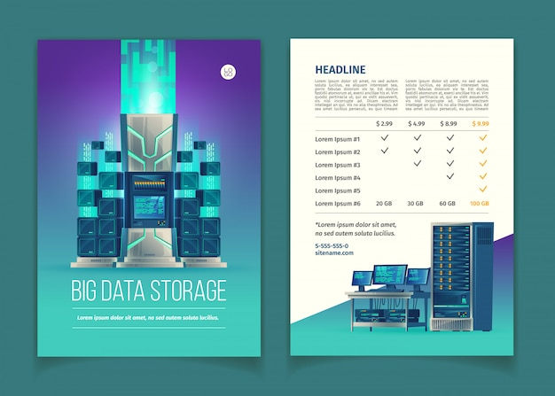 Brochure with server equipment for data processing and storage, cloud services, datab Free Vector