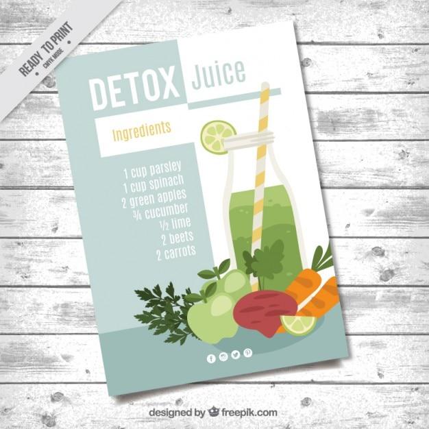 野菜や果物のジュースとパンフレット 無料ベクター