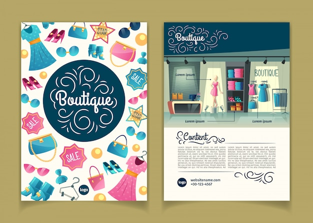 Brochures with girls boutique, female clothing shop. booklet with wardrobe with clothes Free Vector