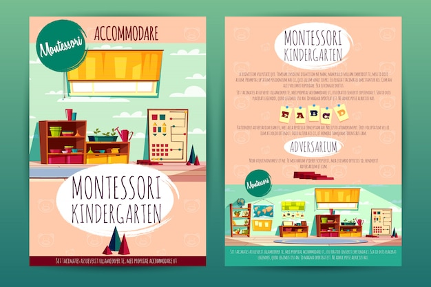 Brochures with montessori kindergarten, teaching in cartoon preschool institution Free Vector