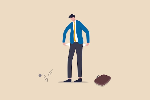 Broke businessman, bankruptcy poor man or financial problem due to jobless and unemployed in coronavirus covid-19 economy crisis concept, sad broke businessman holding his pant empty pockets no money. Premium Vector