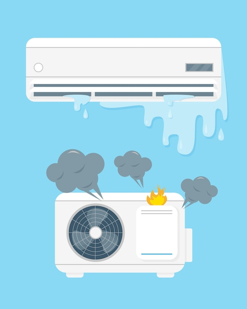 Broken air conditioner vecor illustration on blue background. Premium Vector