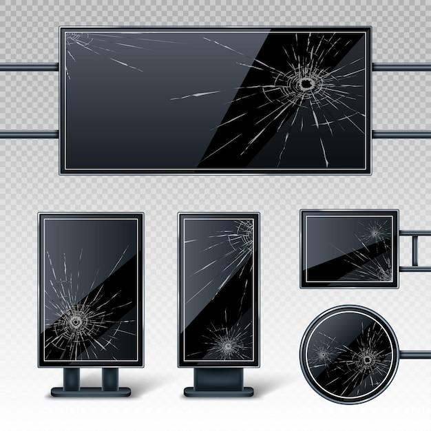 Сломанные пустые рекламные щиты с дырами и трещинами Бесплатные векторы