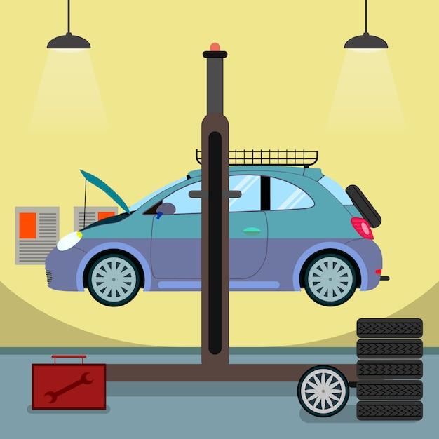 Broken car on hydraulic lift vector illustration Premium Vector
