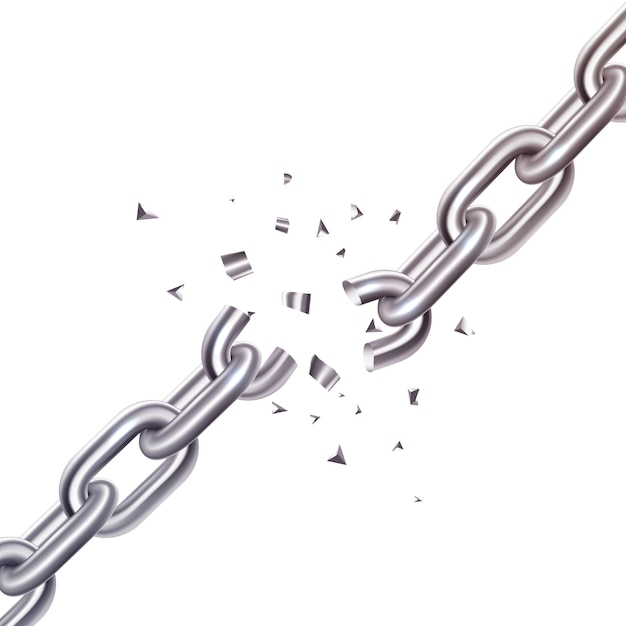 Broken chain illustration Free Vector