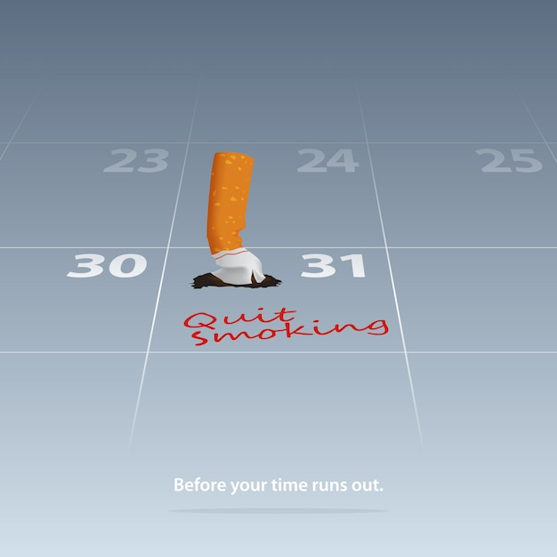 Broken cigarette marked date quit smoking on calendar 31th may. Premium Vector