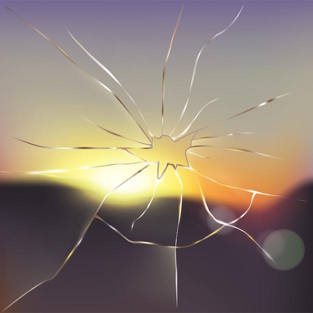 Broken and cracked window glass realistic vector Free Vector