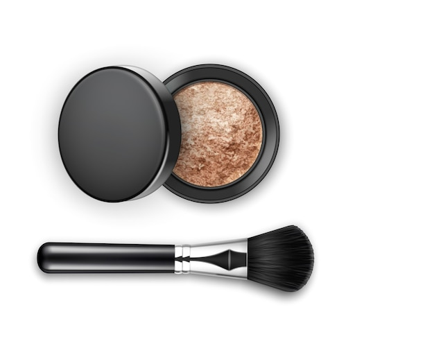 Broken crashed face cosmetic make up powder blusher in black round plastic case Premium Vector