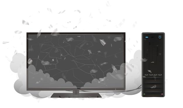 Broken desktop personal computer and monitor Premium Vector