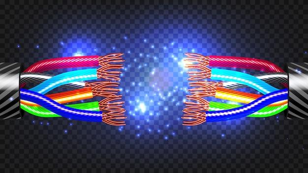 Broken electric cable Premium Vector