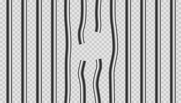 Сломанные металлические решетки из тюрьмы Бесплатные векторы