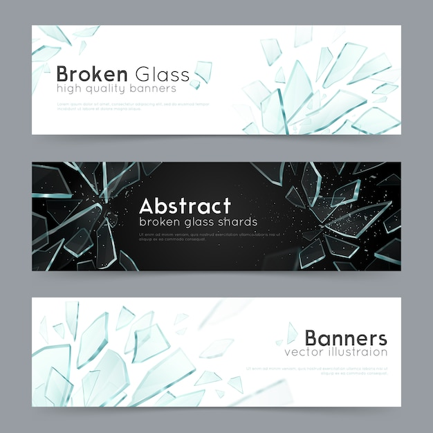 Broken glass 3 decorative banners Free Vector