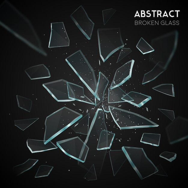 Broken glass flying fragments dark background Free Vector