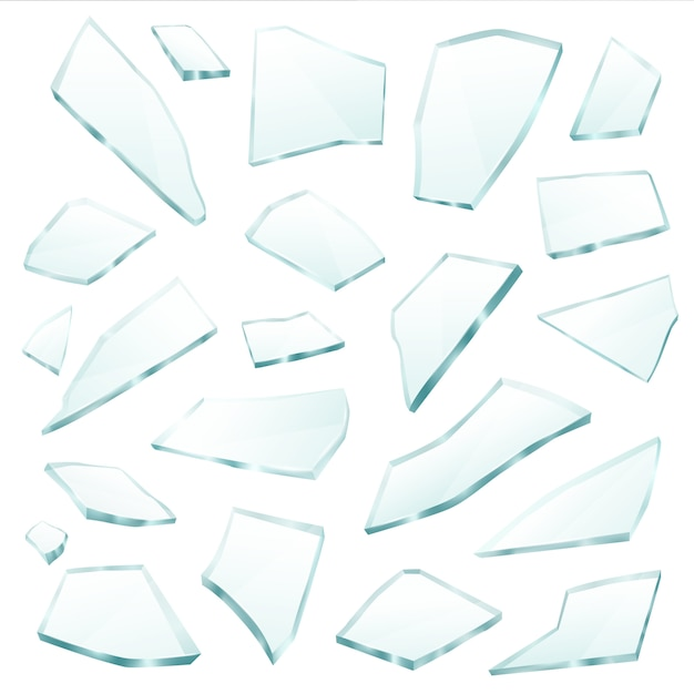 Broken glass fragments shards realistic set Free Vector