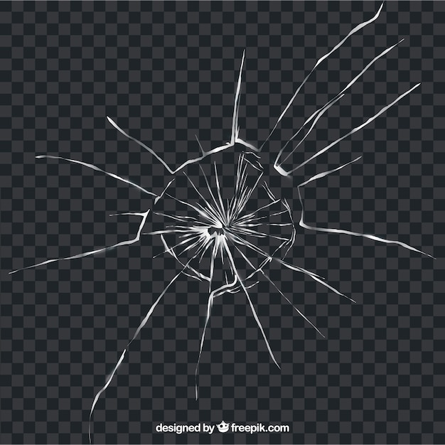 背景のない現実的なスタイルの破損したガラス Premiumベクター