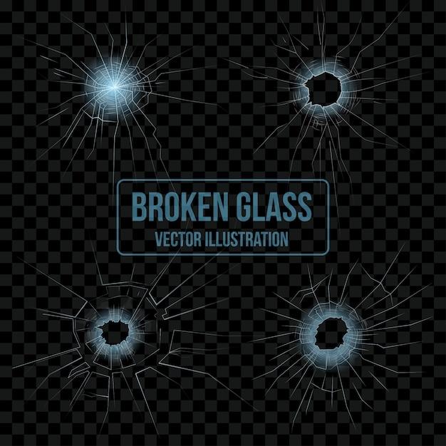 Broken glass set Free Vector