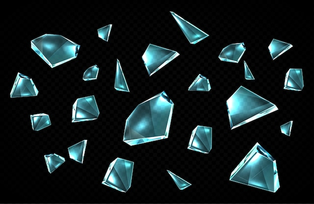Broken glass shards isolated on black background, randomly scattered shattered pieces of crashed window, transparent ice crystal fragments with sharp edges, design elements, cartoon icons set Free Vector
