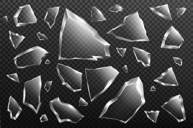 Broken glass shards set, crashed window fragments Free Vector