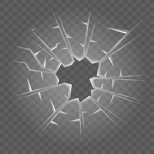 Broken glass texture. isolated realistic cracked glass effect Premium Vector