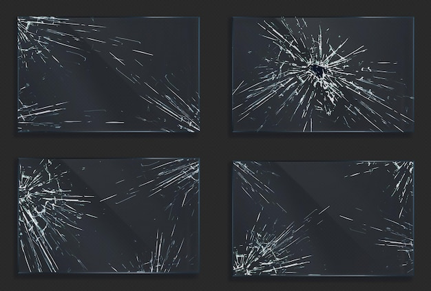 Broken glass with cracks and hole from impact or bullet shot Free Vector
