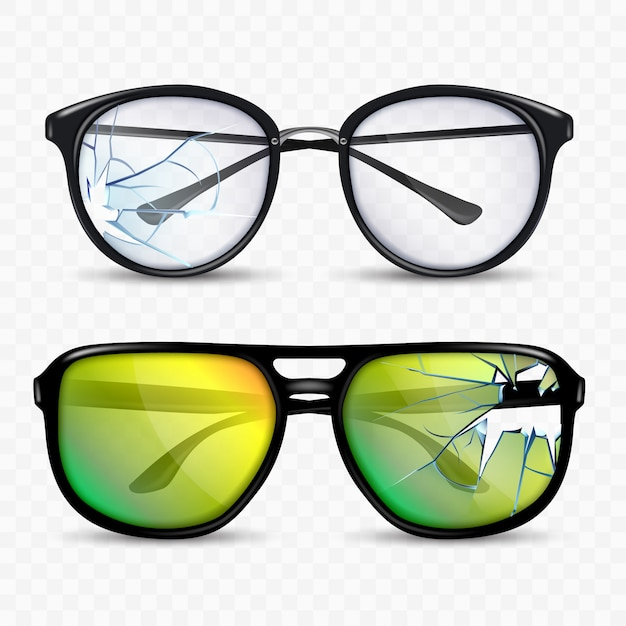 Broken glasses and spectacle accessory set Premium Vector