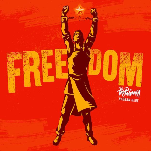 Broken handcuff the symbol of the freedom revolution Premium Vector