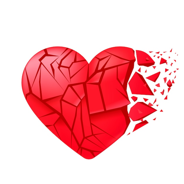 Broken heart sealed isolated. red glass shards. Free Vector