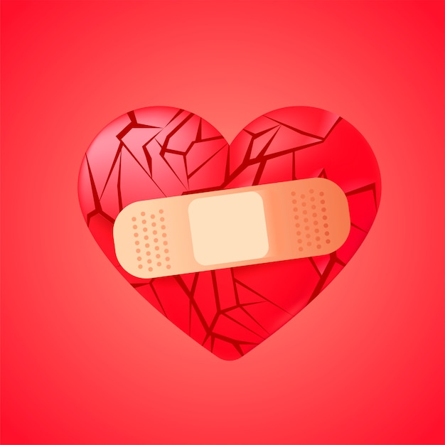 Broken heart sealed with medical bandage Free Vector